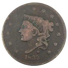 1834 Large Cent, Good, Matron Head
