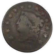 1831 Large Cent, Matron Head, G / AG
