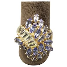 14K Yellow Gold 21st Century Ring with Tanzanites and White Topaz