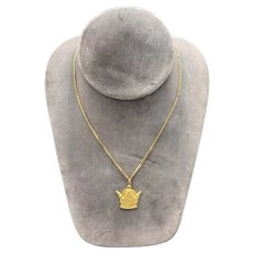 18K Yellow Gold Necklace with a Persian Crown Pendant