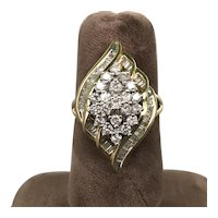 14K Yellow Gold Dinner Cluster Ring with Diamonds