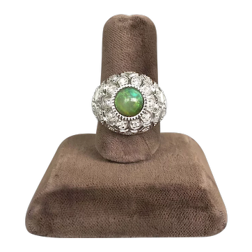 14K White Gold 21st Century Designer Ring with Opal and Diamonds