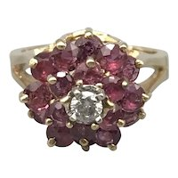 14K Yellow Gold Mid-Century Ring with Diamond and Rubies