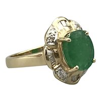 14K Yellow Gold Mid-Century Ring with Emerald and Diamonds
