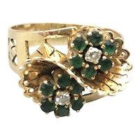 18K Yellow Gold Mid-Century Diamond and Emerald Ring