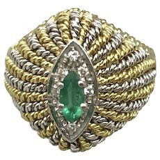 18K Yellow and White Gold Italian Mid-Century Ring with Emerald and Diamonds