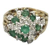 18K Yellow Gold Diamond and Emerald Fashion Ring