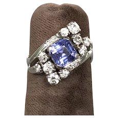 14K White Gold Retro Tanzanite and Diamond Ring