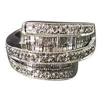 18K White Gold and Diamond Retro Dinner Ring
