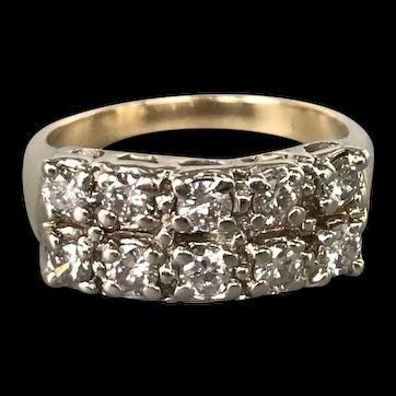 14K White and Yellow Gold Mid-Century Diamond Ring/Band
