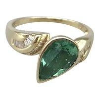 14K Yellow Gold Emerald and Diamond Retro Ring