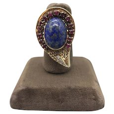 14K Yellow Gold Lapis Lazuli, Ruby and Diamond Mid-Century Designer Ring