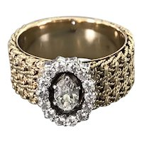 14K Yellow Gold Halo-Style Ring with Diamonds