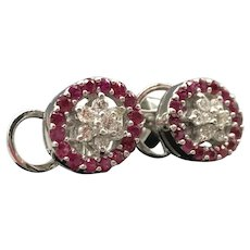 Pair, 14K White Gold Diamond and Ruby Halo Cluster Earrings