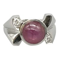 14K White Gold Mid-Century Ring with Star Ruby and Side Diamonds