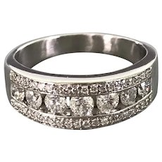 Vintage 14K White Gold and Diamond Band/Ring
