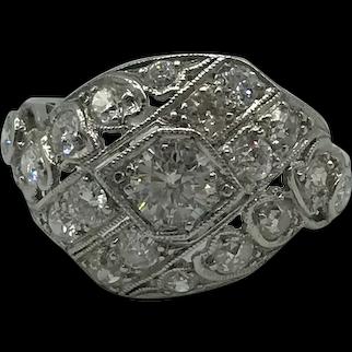 Art Nouveau Period Platinum and 18K White Gold Diamond Ring $3995