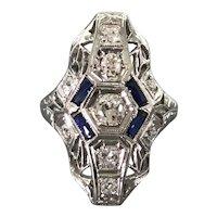 18K White Gold Art Deco Period Diamond and Sapphire Ring
