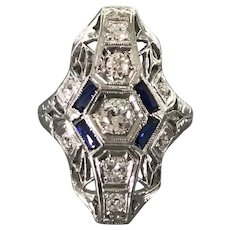 18K White Gold Art Deco Period Diamond and Sapphire Ring $2595