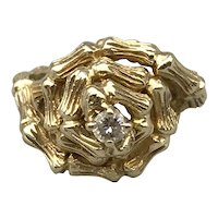 14K Yellow Gold Mid-Century Faux Bamboo Ring with Diamond