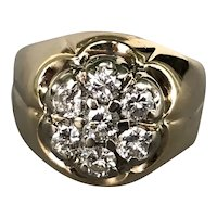 14K Yellow Gold Dinner Ring with Diamonds