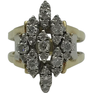 14 Karat White and Yellow Gold Diamond Fashion Ring $2495