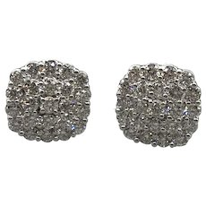 Pair, 14K White Gold Diamond Cluster Pave-Set Earrings