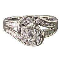 14k White Gold and Diamond Mid-Century Dinner Ring
