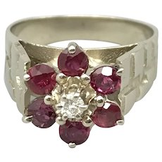 14K White Gold Mid-Century Designer Ring with Diamond and Rubies