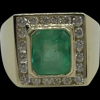 14K Yellow Gold Emerald and Diamond Unisex Fashion Ring $8,457