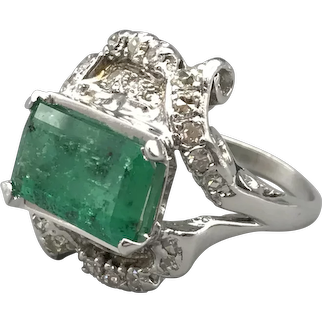 Platinum and 14K White Gold Emerald and Diamond Ring $6495