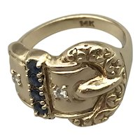 14K Yellow Gold Mid-Century Ring with Sapphires and Diamonds