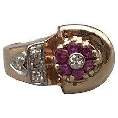 14K Rose Gold Retro Ring with Diamonds and Rubies