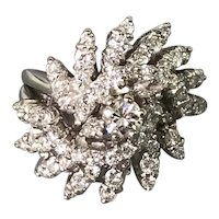 14K White Gold Fancy Mid-Century Diamond Ring