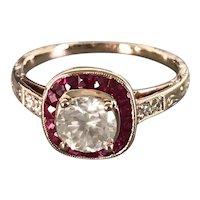 14K Rose Gold 21st Century Diamond Halo Ring with Surrounding Rubies
