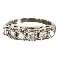 14K White Gold Retro Ring/Band with Diamonds