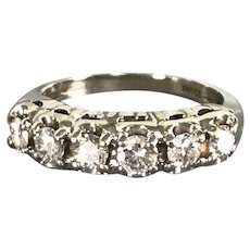 14K White Gold Retro Ring/Band with Diamonds