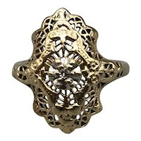 14K Yellow Gold Edwardian Period Filagree Dinner Ring with Rose-Cut Diamond