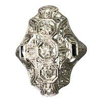 Platinum Art Deco Period Diamond and Sapphire Ring