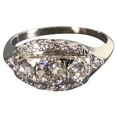 14K White Gold Art Deco Period Diamond Ring