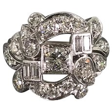 Platinum Edwardian-Style Mid-Century Diamond Cluster Ring