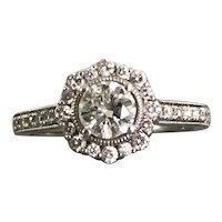 14K White Gold Halo Diamond Ring