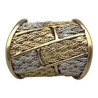 18K Yellow and White Gold Late 20th Century Fashion Ring