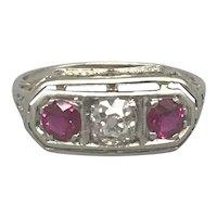 Platinum Art Deco Period Rubies and Diamond Band/Ring