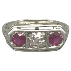 Platinum Art Deco Period Rubies and Diamond Band/Ring