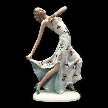 W.K.C Graefenthal Germany Vintage Art Deco 1930's Porcelain Dancer Figurine