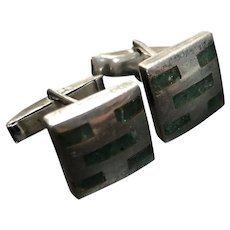 Vintage Natural Emerald Sterling Silver Cufflinks Cuff Links