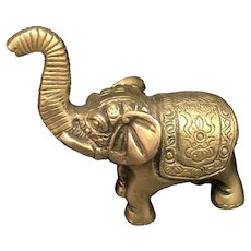 Vintage Hand Crafted Brass Elephant Home Decor