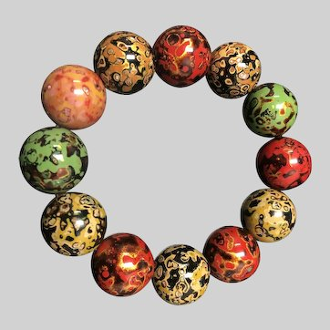 Traditional Chinese Artwork Painted Breads Bracelet