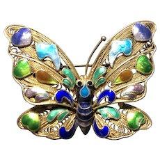 Vintage Chinese Gild Sterling Silver Filigree Enamel Butterfly Pin Brooch